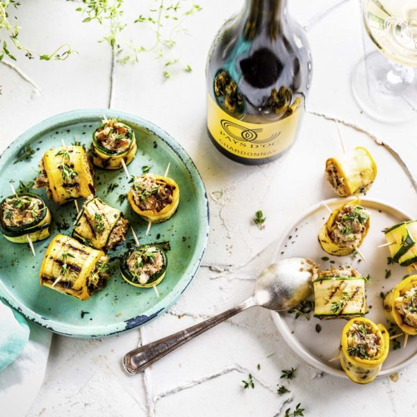 Zucchini-Röllchen & Pays d'Oc IGP Chardonnay